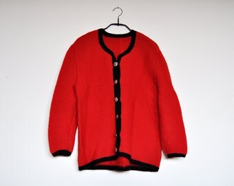Vintage Handmade Cherry Red Knit Cardigan Sweater With Silver Ornamental Buttons