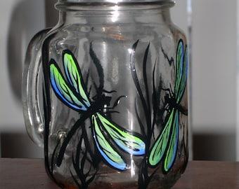 Hand painted dragonfly mason jar coffee mug