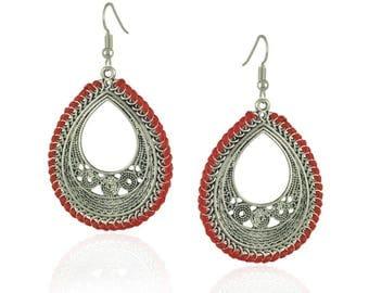 Earrings - Antique Silver Knitting Mandala Earrings, Bohemian Earrings, Teardrop Earrings 32x42mm