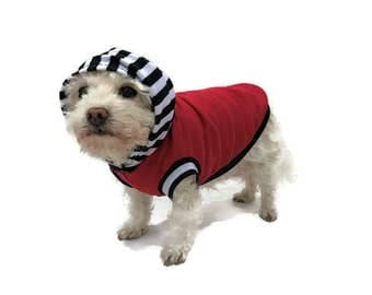 Red Striped Dog Hoodie -Dog Clothes-Dog Shirt-Sleeveless Dog Hoodie-Dog Clothing-Dog Sweater-Clothes for Dogs - Dog Hoodies-Shirts for Dogs