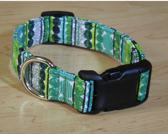 Gray Green and Aqua cotton Dog collar Spring dog collar