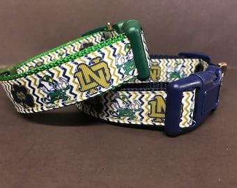 Shamrock and Leprechaun Dog Collar Irish Notre Dame  Inspired