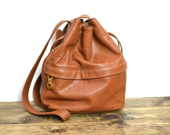 Slouchy Vintage Leather Drawstring Bucket Bag - Medium British Tan Butterscotch Purse
