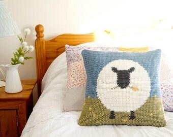 Sheep Cushion, Lake House Decor, Farmhouse Style, Crochet Cushion, Crochet Pattern, Sofa Pillow, Caravan Cushion, Intarsia Crochet Tutorial