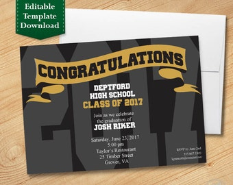 Black and Gold Graduation Invitation Template, High School, College, Graduation Party 2017