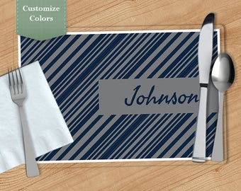Diagonal Stripe -  Personalized Placemat, Customized Placemats, Custom Placemat, Personalized Gift