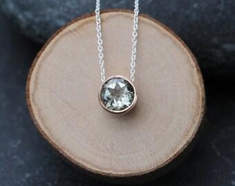 Green Amethyst Rose Gold Pendant - Green Gemstone Necklace - Green Amethyst Necklace - Green Gem Rose Gold Pendant - Small Gem Necklace