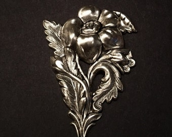 Ornament #15...Large Victorian Flower, pressed metal