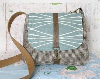 Colorado- Crossbody messenger bag - Southwestern purse - Tribal - Geometric - Vegan purse - Travel bag-Tweed - Mint - Medium - Ready to ship