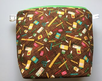 School Supplies Wedge Zippered Pouch Project Bag In Stock, Ready to Ship