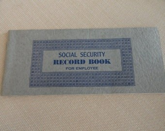 C440)  1940 Social Security Record Book for Employee  like new