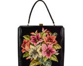 50% OFF Vintage Black Floral Tapestry Needlepoint Handbag // X-Large 1960's Kelly Tote Purse // Pink, Red, Hellebore Lilly Flowers, Made in