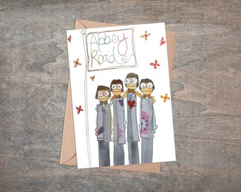 Beatles - Fab 4 - Fab Four - Beatles Liverpool - Greetings Card - Blank Card