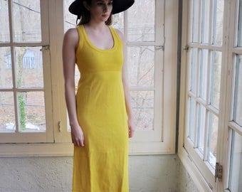 Mod Vintage Sunshine Yellow Knit Maxi Dress/Vintage 1970s/Size Small