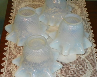 4 Diamond Quilted Antique SHADES Opalescent Opal Oil Lamp Lantern Glass kerosene globe chimney