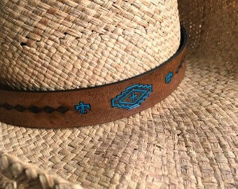 Leather Cowboy Hatband Southwest Western Cocoa Brown with Teal Accents Hat Band Custom Made to Fit Your Hat - Love That Leather