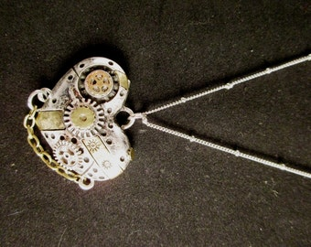 Steampunk Patchwork Heart Necklace