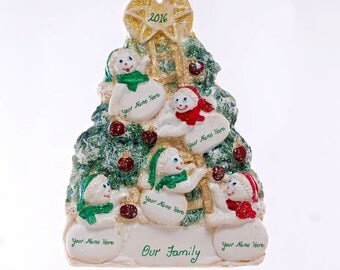 Family of five Snowmen Christmas ornament - personalized with your family or groups names - Resin Snowman ornament is made in the USA (102)