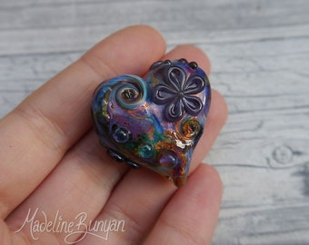 Heart shaped pretty flower Lampwork Focal Bead, rainbow, purple