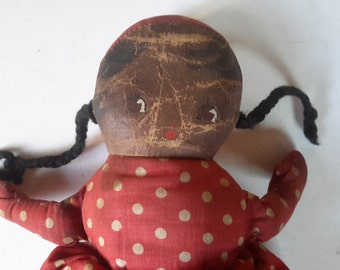 "Vintage 9"" Topsy Turvy cloth doll polka dot dress hand painted Black and white faces"