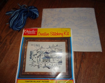 """Vintage Blue and White  Embroidery Stitching Kit of an Asian """"Canton Village"""" on Stamped 100% Linen Cloth & Blue Yarn Threads to complete it"""