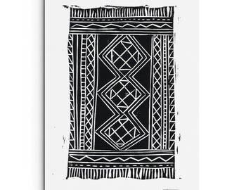 Kilim Rug Print - Home Decor Print - Illustration - Linocut Block Print - Digital Print - Giclee Print