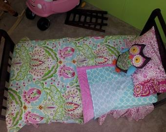 Girls TODDLER Bedding Set - Girls 4 or 5-Piece Kumari Garden Bedding Set-Includes Comforter-Toddler Sheet Set--Made to Order