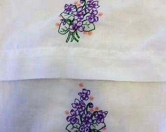 Embroidered white pillow cases, 20 X 30 pillowcases, bed linens, embroidered violets, standard pillowcases