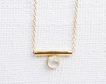 NEW Bar - Moonstone Necklace, Bridesmaids Gift, Gifts for Her