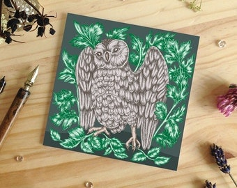 Owl Greeting Card, Blank Greeting Card, Animal Lover Card, Nature Lover Card, Bird Card