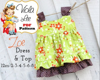 Zoe Girls Dress Pattern. Top Pattern. Toddler Dresses, Toddler Dress Patterns, Girls Sewing Patterns. pdf Sewing Patterns, Infant Dresses