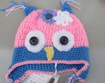 Small owl style baby hat with ear flaps