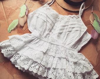 White Cami Crop Eyelet Lace Boho Beach Style - Free Size XS-M -