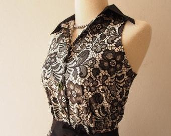Black Summer Dress Black Lace Print Shirt Dress / Black Semi-Casual Party Working Dress Retro Vintage Tea Dress -XS-Xl, Custom