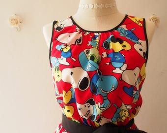 Women Snoopy Dress Vintage Retro Sundress Gift for Her Red Summer Dress La La Land Inspired Dress Tea Party Dress