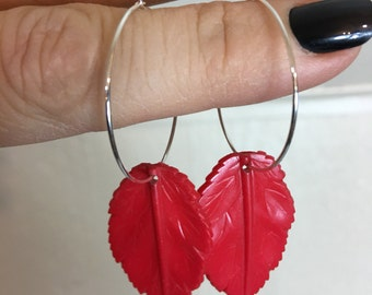 Vintage Custom Red Leaf Dangle Hoop Earrings Sterling Silver Plate
