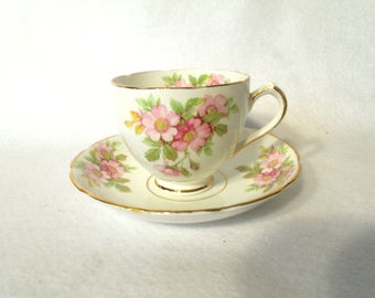 Duchess Fine Bone China Cup and Saucer, Unknown Pattern Name, Wild Roses
