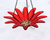 NEW PRODUCT Hanging Bird Feeder Bird Bath, Red-Orange Painted, Recycled Glass