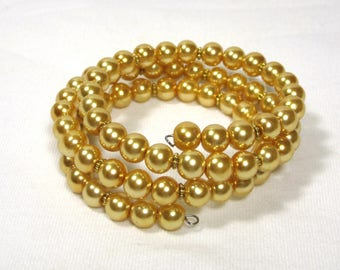 Champagne Gold Glass Pearl Memory Wire Bracelet