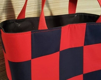 Navy and red tote