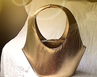 1960s Gold Lame Bucket Handbag by Ila of California