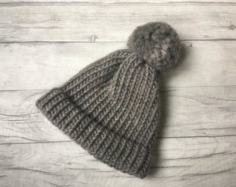 Women's Clothing,  knit accessories, Beanie hat, grey knitted hat, Shetland wool, British wool hat, pom pom hat, boyfriend gift, Etsy UK
