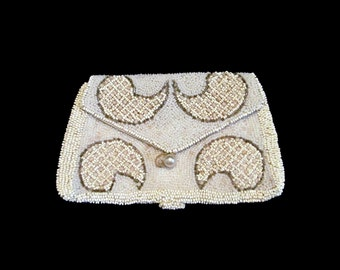 Vintage Beaded Evening Bag Envelope Purse Belt Finger Coinpurse Art Deco Seed Bead Paisley Clutch Faux Pearl Handbag