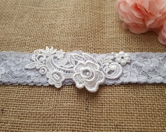 Blue garter, wedding garter, Pale blue lace bridal garter - white floral applique