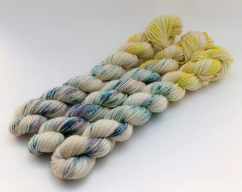 Variegated Minis, 20 Grams, 92 yards each, Work Horse Sock, Super Wash Merino Wool, Nylon, Clear Skies
