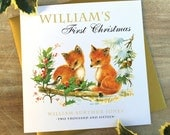Baby's First Christmas Card | Bunny or Fox Design | Personalised