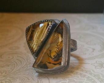 Quartz Ring Double Quartz Ring Dendritic Quartz And Rutilated Quartz Ring In Oxidized Sterling Silver Fine Jewelry
