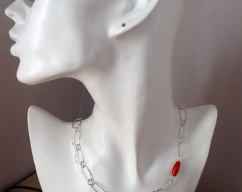 UK Hallmarked Contemporary Statement Large Oval Link Silver Necklace with Red Coral