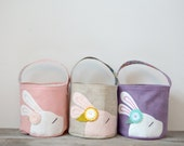 Custom Wool Felt Easter Basket - Sweet Little Bunny Bowtie Basket