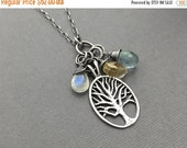 Valentines Day SALE - Charm Necklace, Moss Aquamarine, Moonstone, Citrine, Sterling Silver, Tree of Life, Genuine Gemstones, Under 100, Gift